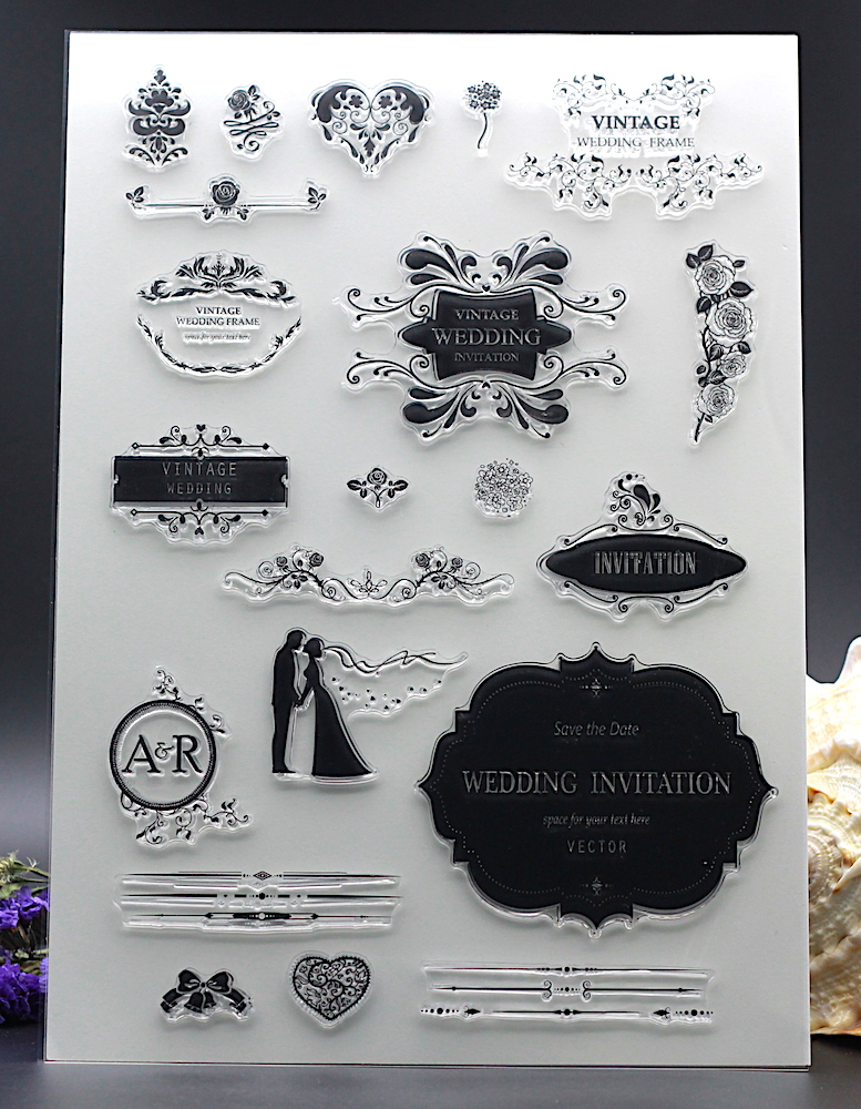 Clear Stamp For DIY Scrapbook Card Album Paper Craft Silicon Rubber Roller Transparent Vintage Wedding Invitation In Stamps From Office School