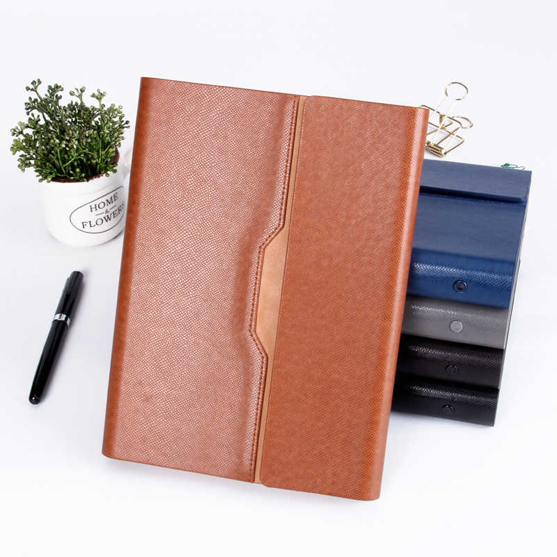 49e0c964e32 Pu Leather Loose Leaf Notebook Hardcover Journal ring binder calendar agenda  Clip planner Custom Logo Metal