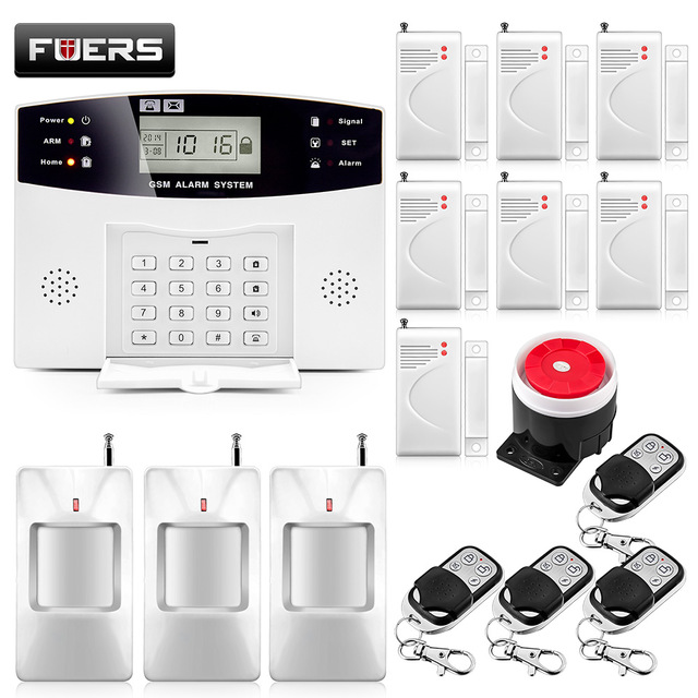 Home Security Alarm Systems Metal Remote Control Voice Prompt Wireless Door Sensor LCD Display Wired Siren Kit SIM SMS GSM Alarm(China)