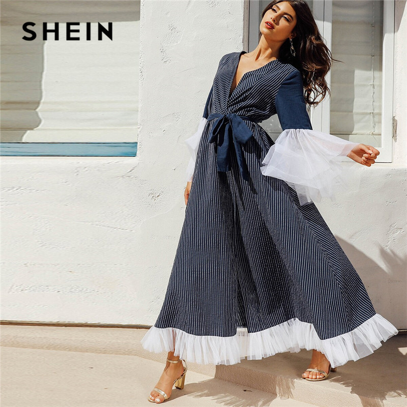 SHEIN Contrast Mesh Surplice Neck Striped Hijab Maxi Dress With Belt Navy Long Sleeve Deep V Neck Elegant Dress Women Long Dress