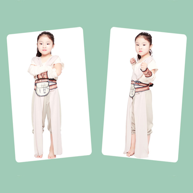 2018 star wars costume Child Classic The Force Awakens Rey Fancy Dress Girls Movie Charater Carnival Cosplay Halloween Costume
