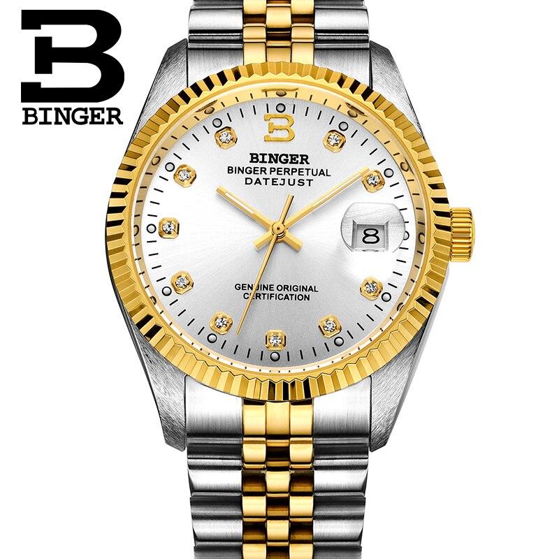 Suisse BINGER montre hommes automatique mécanique hommes montres de luxe marque montre-bracelet saphir étanche reloj hombre 373-7