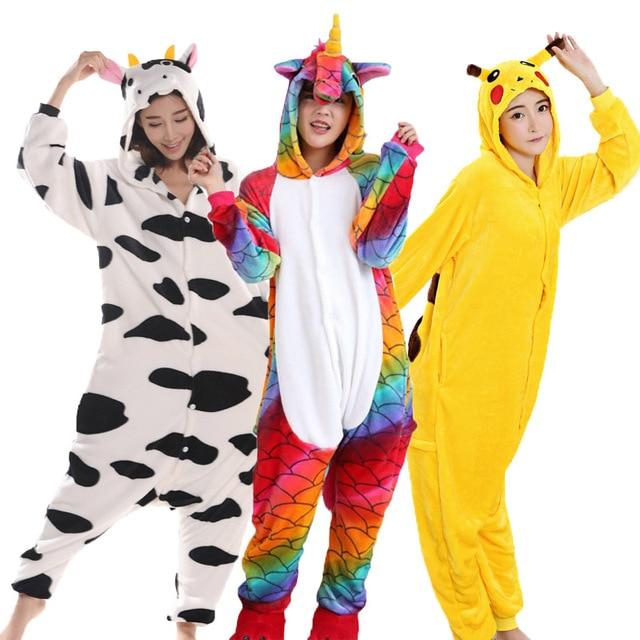 Animal Pajamas For Adult Unicorn Pikachu Panda Stitch Pegasus Cartoon  Cosplay Flannel Hooded Unisex Pijamas Costume Onesies 50d4c55af
