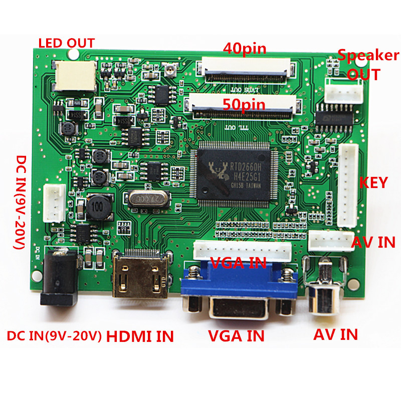HDMI+VGA+ 2AV+Audio 40pin 50pin LCD Driver Controller Board Kit for Panel  CLAA070ND02/EJ070NA02/AT070TNA2 V.1 1024*600|Replacement Parts & Accessories|   - AliExpress
