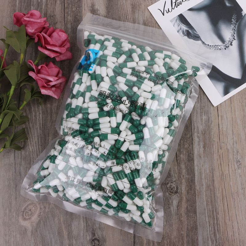 1000Pcs Green And White Empty Hard Gelatin Capsule Size 0# Medicine Pill Capsule
