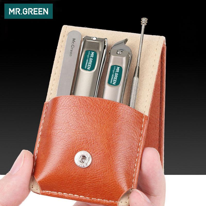 MR. Vert professionnel en acier inoxydable coupe-ongles set maison 4 en 1 manucure outils kit de toilettage art portable ongles personnel propre