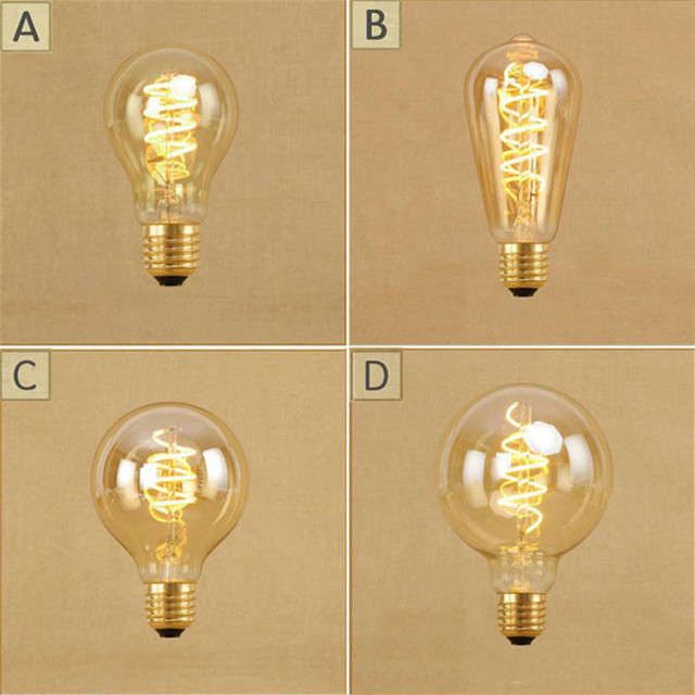 Vintage 4 Watt Dimmbare Led Edison Birne Retro LED Spirale Schraube Led  Lampen A19