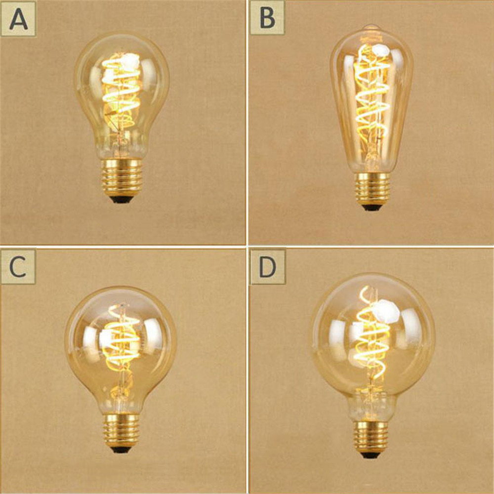 Vintage 4W dimmable led edison bulb Retro LED spiral filament screw bulbs A19 ST64 G80 G95 antique E27 lighting bulb 220V 240V
