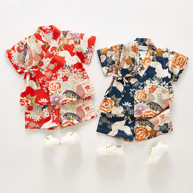 Summer Children Yukata Clothing Girl Boy Japanese Kimono Baby Dress Kids Yukata Costume Traditional Kimono Cotton Pajamas Z957(China)
