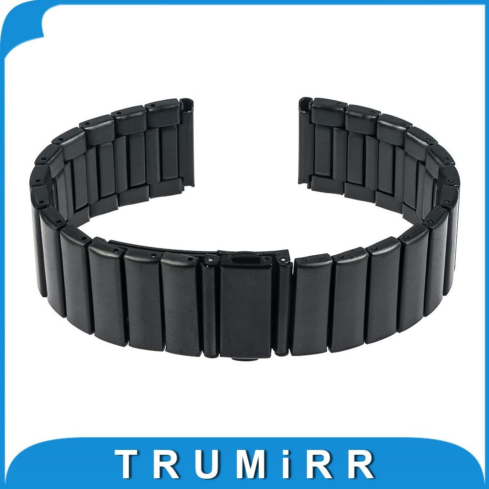 Prix pour 22mm Montre En Acier Inoxydable Bande pour Pebble Temps/Acier Asus Zenwatch 1 2 22mm Bracelet Lien Fermoir Boucle Bracelet Noir Argent
