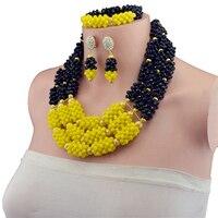 Fashion African Beads Jewelry Sets Baby Yellow&Black Crystal Beads Jewelry Set Nigerian Wedding Bridal Necklace Jewellry Set HD7
