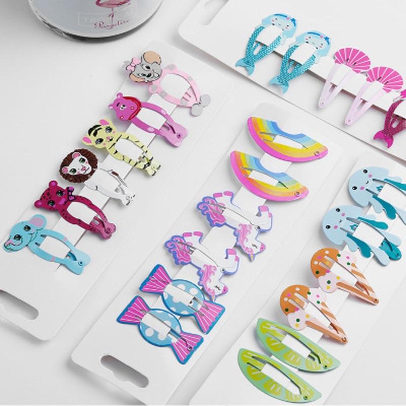 6pcs Baby Snap Hair Clips Barrette For Children Kids Girls Hair Accessories Cute Cartoon Fruit Animal Hairpins Clip Pins Color
