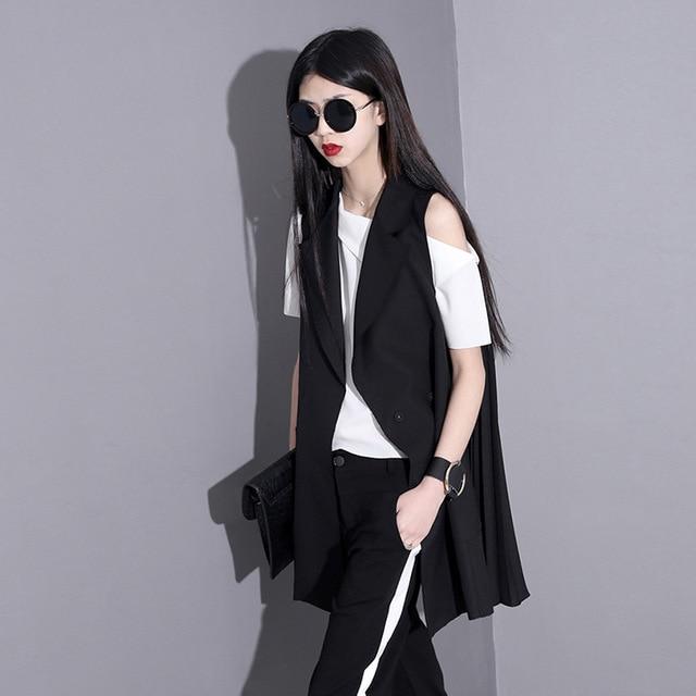 [soonyour] 2017  new Fashion plus size ladies lapel chiffon suit lapel black vest for women 44651