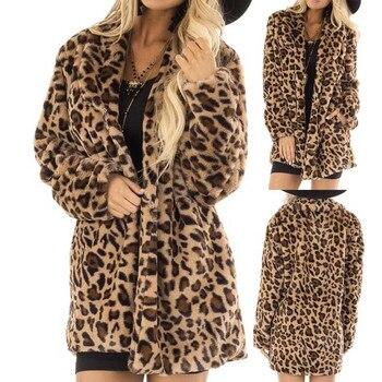 Womens Rabbit Villi Autumn Winter Long Sleeve Leopard Print Fashion Pocket Coat Ladies leopard rabbit fur coat jeans con blazer mujer