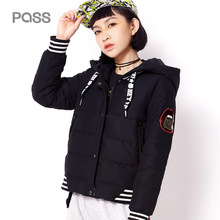 PASS Autumn Woman Black Jacket Fashion Long Sleeve Korean Winter Jackets For Women Striped Long Sleeve Down Hooded Jacket