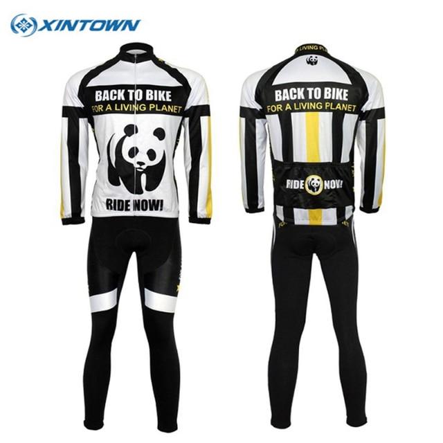 XINTOWN New Pandas cycling jersey (bib) pants set long sport mtb ropa  ciclismo Spring Summer Autumn Bike Wear cycling clothing c65463263