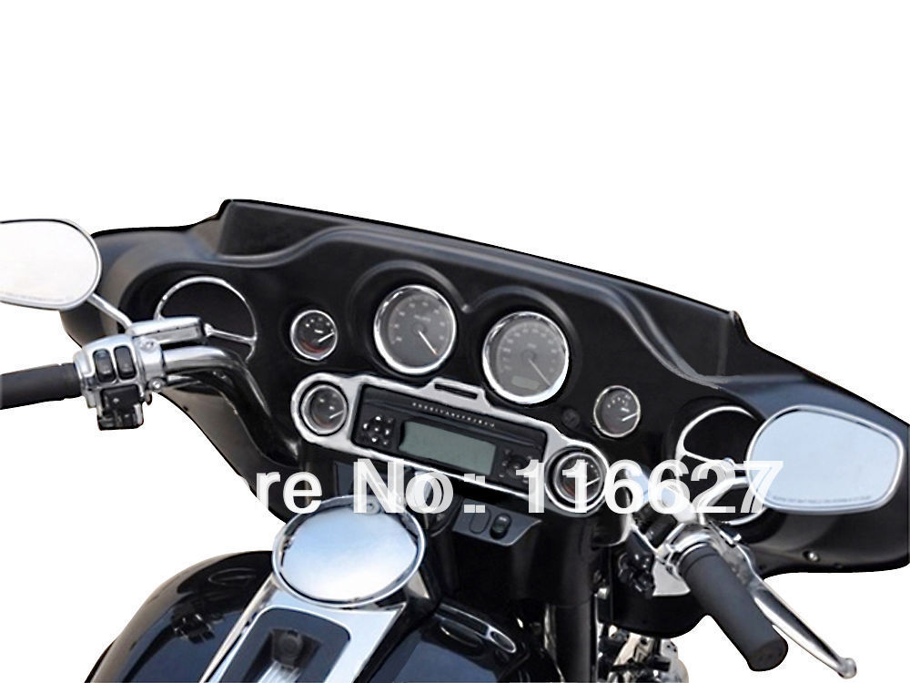 Freeshipping Stereo Accent+Speedometer+Speaker Gauges Ornamental decorating Trim Ring Set for Harley Ultra Classic Touring