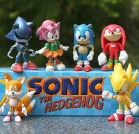 High Quality 6PCS Pack Mini Sonic The Hedgehog Vivid Nendoroid Series 6cm PVC Action Figure Model