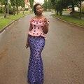Estilo Africano Aso Ebi Vestidos de Noche Púrpura Del Cordón de La Sirena de Nigeria Nigeria Estilo de Baile Vestidos de Noche Vestido de festa