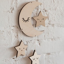 Lovely Wooden Cloud Shape Decor Raindrop Decorative Ornaments Hanging Plaque Decor Baby Mobile Star and Cloud Mobile