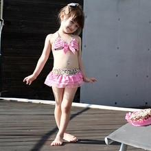 2019 New Baby Girls Leopard Bow Bikini Set Swimwear  Briefs Summer Beach Swimsuit 3pcs kids Bathing Beachwear Suit Costume цена