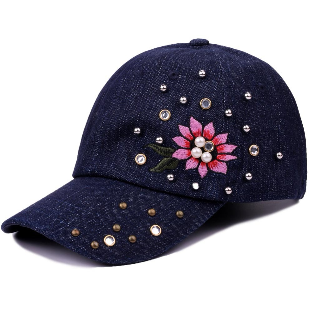 Adjustable Cotton Baseball Cap Women Casual Snapback Cap Hats For Girls Pearl Rhinestone Casquette Floral Embroidery Hip Hop Cap