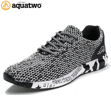 AQUA TWO New Popular Style Men Running Shoes Air Mesh Lace-Up Athletic Shoes Outdoor Breathable Walkng jogging Sneakers yb-0805