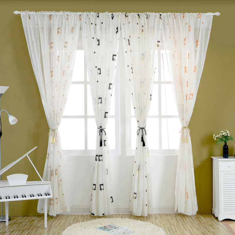 free shipping voile balcony tulle curtains geometric multiple curtains bedroom curtain design plaid modern fabrics tulle