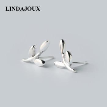 ad8701db3a3e LINDAJOUX lindo hoja rama 925 pendientes de plata esterlina para las  mujeres-plata esterlina-joyería pequeños pendientes
