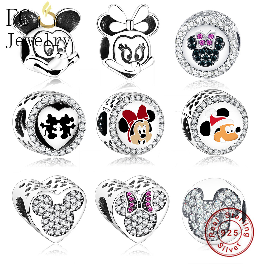 FC Jewelry Fit Original Pandora Charm Bracelet 925 Sterling Silver Cartoon Animal Mickey Minnie Beads for making DIY Berloque strollgirl car keys 100% sterling silver charm beads fit pandora charms silver 925 original bracelet pendant diy jewelry making