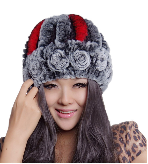 H11- winter cap with natural rex rabbit fur. brown gray red white knitted handmade floral warm hat fur women