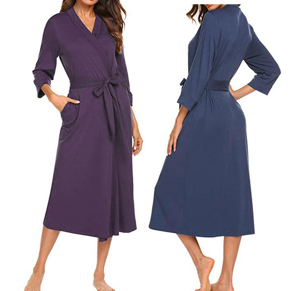 2019 Summer Sexy Women Robes Cotton Lightweight Long RobeSoft Sleepwear V-Neck Loungewear Party Bathrobe Bridesmaid Robes