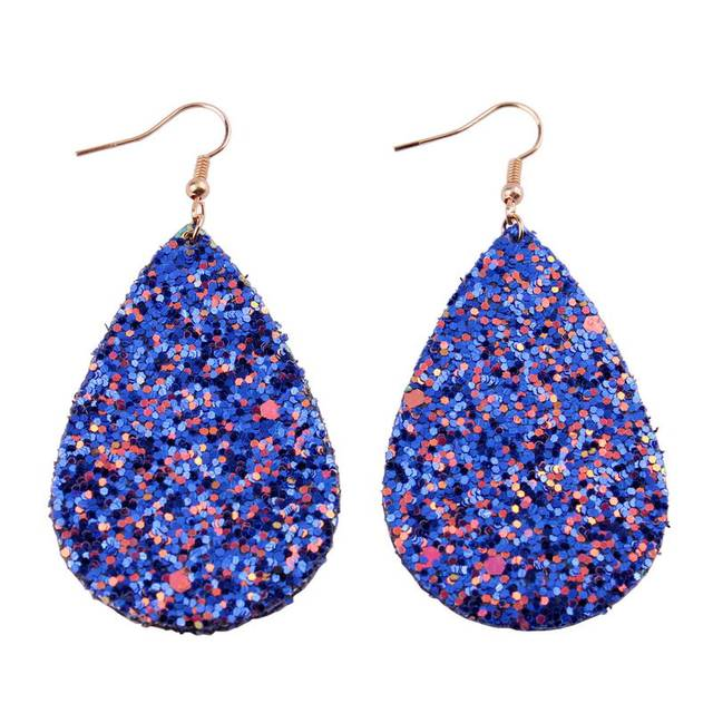 Zwpon 2018 Royal Blue Iridescent Teardrop Leather Earrings For Women Printed Flower Drop Fashion Inspirational