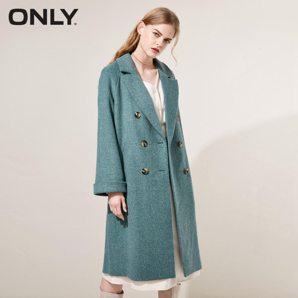 ONLY  Womens' Winter New Wool Double-breasted Long Woolen Coat Back Windshield Design Rolling Cuff 11846U505