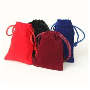 Image 3 - 100pcs/lot 5x7, 7x9, 8x10, 10x12cm Drawstring Velvet Bags & Pouches Jewelry Bags Gift Packaging Bag Customize Custom Print Logo
