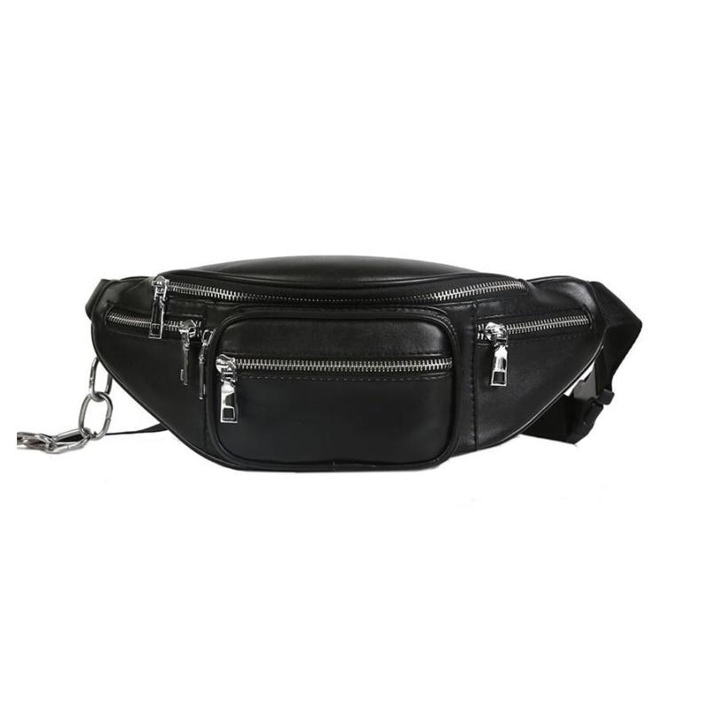 1860b05adb01 US $15.99  2018 Waist Bags Women Fashion Designer Fanny Pack Vintage Pu  Leather Belt Bag Female Chains Waist Pack Bolsa Feminina bum bag-in Waist  ...