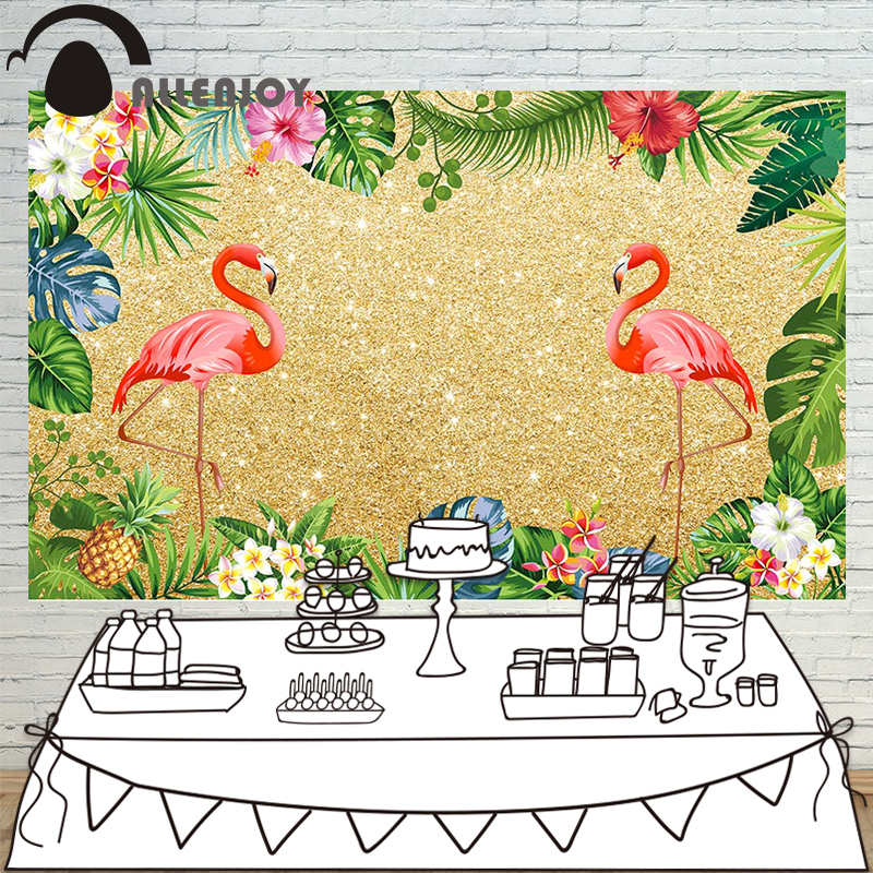 Allenjoy photo backdrops flamingo Luxury party tropical rainforest birthday background photocall customize photo studio allenjoy backdrops baby shower background pink stripe rose gold circle birthday invitation celebration party customize