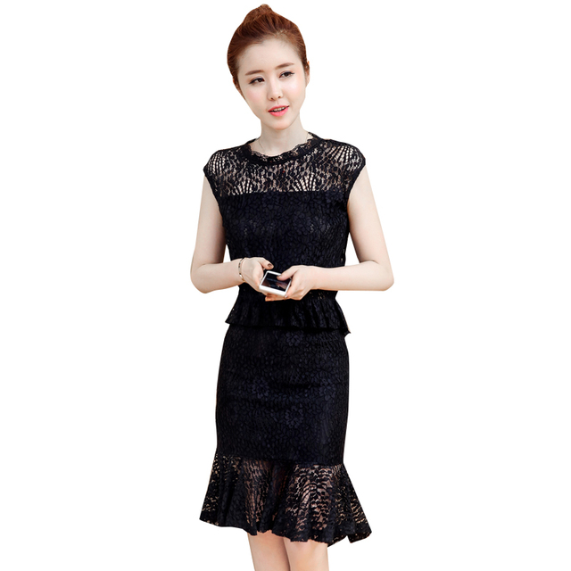 d41057b00 Um Conjunto de Roupas de Verão Da Moda Coreana Two-Piece Mulheres Rendas  Babados Fishtail