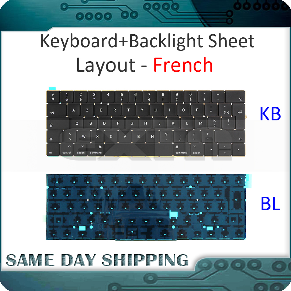 New for Macbook Pro Retina 15'' A1707 Keyboard French France FR AZERTY w/ Backlight Backlit EMC3072 EMC3162 Late 2016 Mid 2017 brand new azerty fr french keyboard backlight backlit 100pcs keyboard screws for macbook pro 15 4 a1286 2009 2012 years