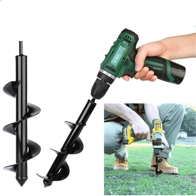 Garden Spiral Auger Drill Bit Planter Bulb Shaft Yard Planting Hole Digger Tool