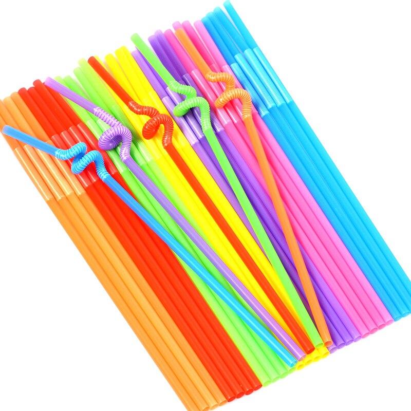 100PCS Colored Straws Art Kindergarten Paste Painting Handmade Diy Weaving Materials Teaching Learning Education Toys