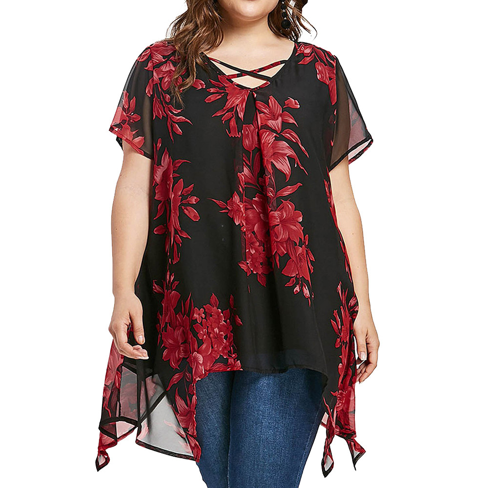 Plus Size Criss Cross Front Floral   Blouse   Women Tops Summer Loose V-Neck Short Sleeve Asymmetrical   Blouses     Shirts   Big Size