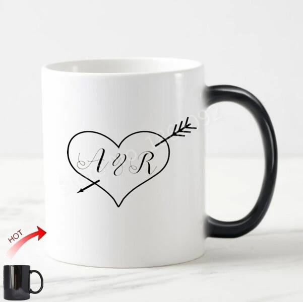 New Heart Arrow Initial Wedding Anniversary Gifts Personalized Initials Letters Love Magic Mug Custom Monogram Coffee Mugs Cups Mugs Aliexpress