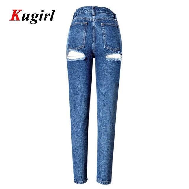1c58b98693 Moda jeans Rasgados para mujeres Caderas flacos Del Agujero vaqueros de  cintura alta mujer pantalones Distressed