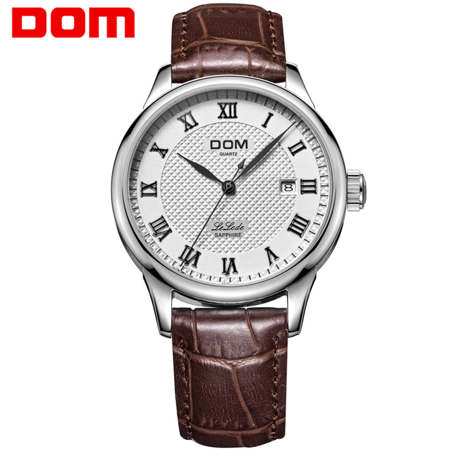 DOM Leather Men Watch 2018 Top Brand Luxury Famous Auto Date Wristwatch Male Clock Waterproof Quartz Watch Relogio Masculino
