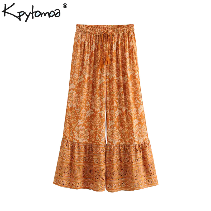 Boho Chic Summer Vintage Floral Print   Wide     Leg     Pants   Women 2019 Fashion Drawstring Tassel Beach Calf Trousers Pantalones Mujer