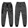 Free shipping plus size fat cotton wei pant loose  pants elastic waist patchwork casual Straight gray long trousers 2xl-8xl