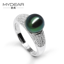 MYDEAR Fine Pearl Jewelry High Luster Pearl Ring Current 9-10mm Tahitian Pearls Rings For Women,Charms For Jewelry Making