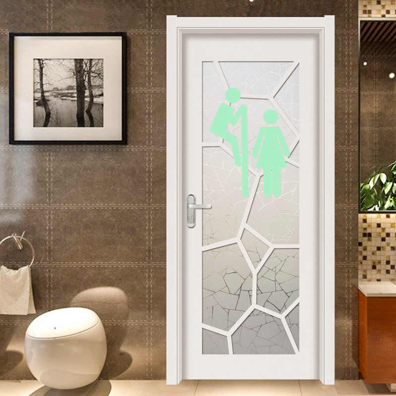 Luminous Funny Toilet Entrance Sign Wall Stickers For Door Toilette Glow In The Dark Wallpaper