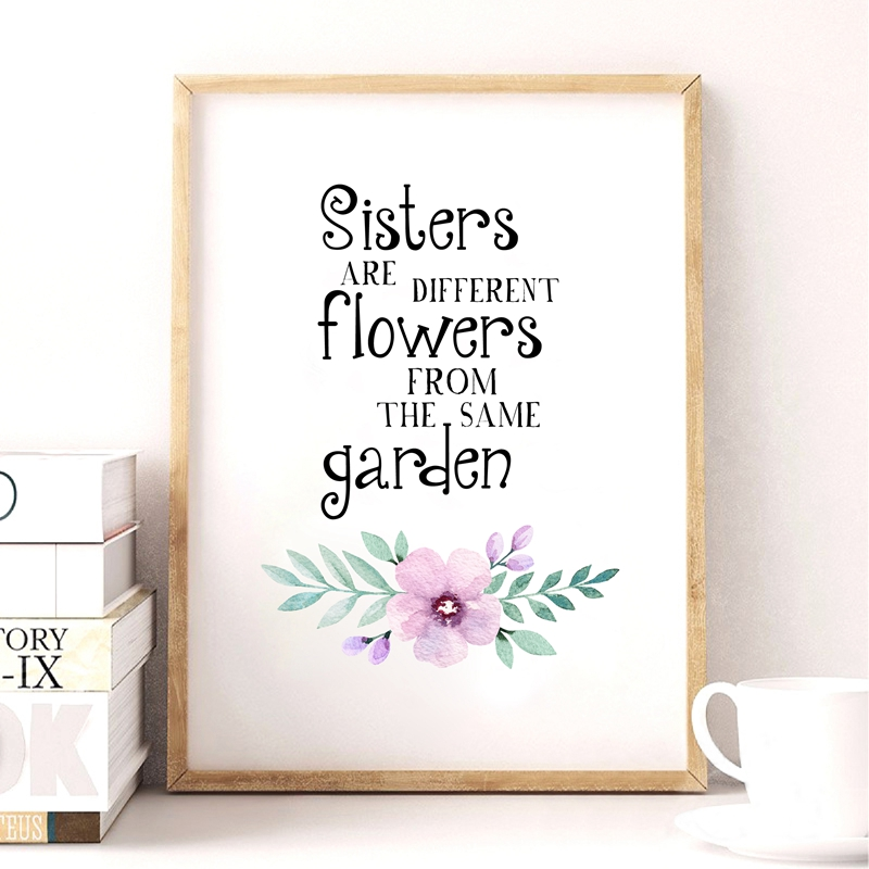 Sisters Are Flowers Quote Prints Wall Art Decor Twins
